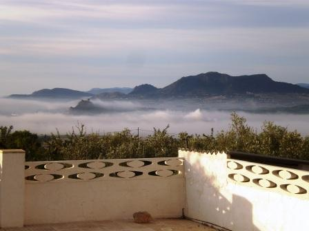 view from our terrace on a misty morning