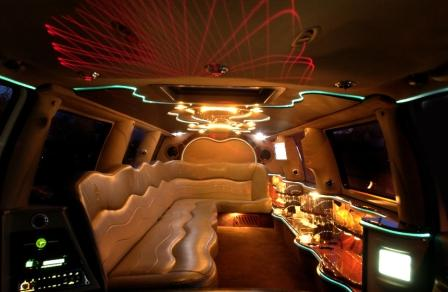 inside of limo for hire